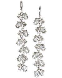 Badgley Mischka - Jewel Crystal Leaf Linear Drop Earrings - Lyst