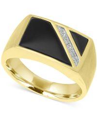 Macy's - Men's Onyx (14 X 9mm, 5-1/2 X 5-1/2mm) & Diamond Accent Ring In 10k Gold - Lyst