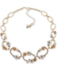 "Lonna & Lilly - Gold-tone Pavé & Imitation Pearl Flower Collar Necklace, 16"" + 3"" Extender - Lyst"
