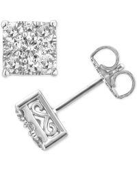 Macy's - Diamond Square Cluster Stud Earrings (1 Ct. T.w.) In 14k White Gold - Lyst