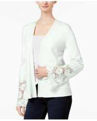 Charter Club - Lace-contrast Open-front Cardigan - Lyst