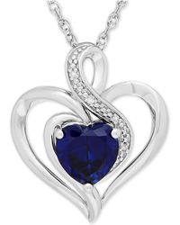 Macy's - Sapphire (1-3/4 Ct. T.w.) And Diamond Accent Heart Pendant Necklace In Sterling Silver - Lyst