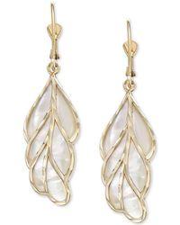 Macy's - Mother-of-pearl Leaf Drop Earrings In 14k Gold - Lyst