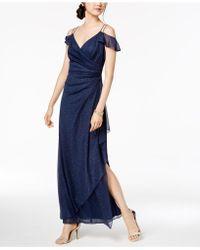 Alex Evenings - Draped Cold-shoulder Glitter-embellished Dress - Lyst