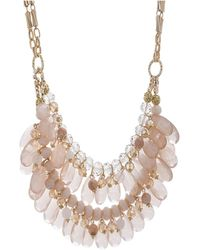 Catherine Malandrino - Pink Rhinestone Yellow Gold-tone Double Layered Chain Necklace - Lyst