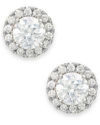 71da2b5ca Macy's Diamond Double Halo Stud Earrings (1 Ct. T.w.) In 14k White Gold in  Metallic - Lyst