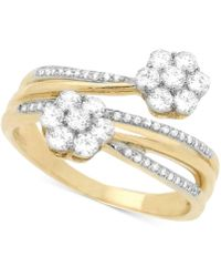 Wrapped in Love - Diamond Cluster Bypass Ring (3/4 Ct. T.w.) In 14k Gold - Lyst