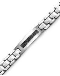 Macy's - Men's Black Diamond Id Bracelet In Stainless Steel (3/8 Ct. T.w.) - Lyst
