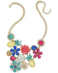 """INC International Concepts - I.n.c. Gold-tone Multi-stone Flower & Fruit Statement Necklace, 18"""" + 3"""" Extender, Created For Macy's - Lyst"""