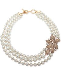 "Anne Klein - Gold-tone Pavé & Imitation Pearl 17"" Torsade Necklace - Lyst"