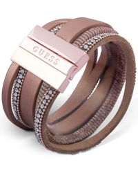 Guess - Rose Gold-tone Crystal Magnetic Wrap Bracelet - Lyst