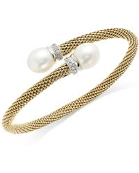 Macy's | Cultured Freshwater Pearl Mesh Cuff Bracelet In 14k Gold Over Sterling Silver (10mm) | Lyst