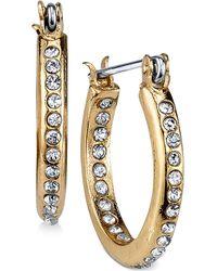 2028 - Gold-tone Inside-out Pavé Hoop Earrings - Lyst