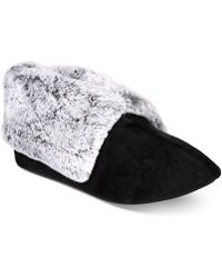 Charter Club - Plush Faux-fur Booties Slippers, Created For Macy's - Lyst
