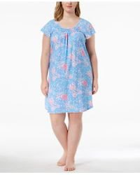 Miss Elaine - Plus Size Picot-trim Rose-print Nightgown - Lyst