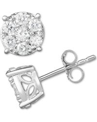 Macy's - Diamond Cluster Stud Earrings (3/4 Ct. T.w.) In 14k White Gold - Lyst