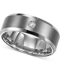 Triton | Men's Tungsten Carbide Ring, Single Diamond Accent Wedding Band | Lyst