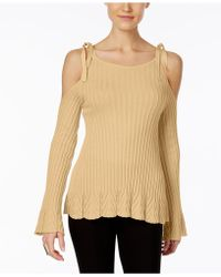Eci - Ribbed Cold-shoulder Sweater - Lyst