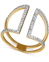Macy's - Two-tone Textured Openwork Cuff Ring In 14k Gold - Lyst