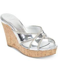 189adffd0de Lyst - Guess Eleonora 4 Women Open Toe Canvas Gold Wedge Sandal in ...