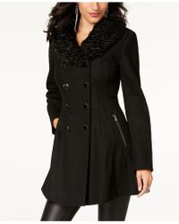 Guess - Faux-fur-collar Skirted Coat - Lyst