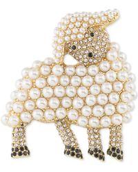 Carolee - Gold-tone Pavé & Imitation Pearl Lamb Pin - Lyst