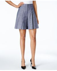 Nine West - Pleated Twill Soft Shorts - Lyst