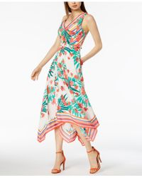 Vince Camuto - Floral-printed Handkerchief-hem Midi Dress - Lyst