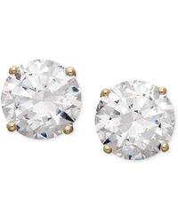 Arabella - 14k Gold Earrings, Swarovski Zirconia Round Stud Earrings (3-1/2 Ct. T.w.) - Lyst
