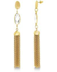 Catherine Malandrino - White Rhinestone Marquise Shaped Tassel Style Yellow Gold-tone Dangle Earrings - Lyst