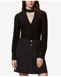 Avec Les Filles - Velvet Dot-print Burnout Bodysuit - Lyst