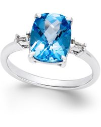 Macy's - Swiss Blue Topaz (3-3/4 Ct. T.w.) And Diamond Accent Ring In Sterling Silver - Lyst