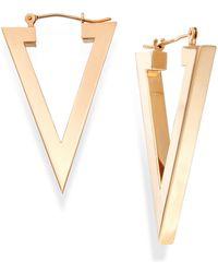 Macy's - Triangle Hoop Earrings In 14k Gold - Lyst