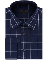 Sean John - Classic/regular Fit Performance Stretch Navy Check French Cuff Dress Shirt - Lyst
