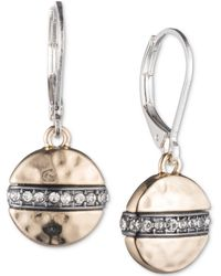 Nine West - Tri-tone Pavé Disc Drop Earrings - Lyst