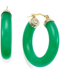 Macy's - Jade Hoop Earrings In 14k Gold (27-1/2mm) - Lyst
