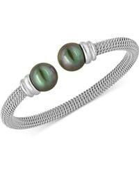 Majorica | Bracelet, Organic Man Made Black Pearl And Stainless Steel Bangle Bracelet | Lyst