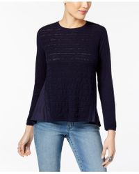 Style & Co. - Petite Cotton Pointelle-knit High-low Sweater - Lyst