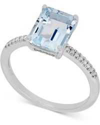 Macy's - Aquamarine (2-1/10 Ct. T.w.) And Diamond (1/10 Ct. T.w.) Ring In 14k White Gold - Lyst