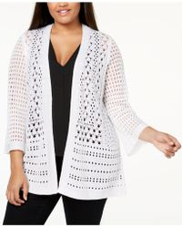 Charter Club - Plus Size Crocheted Open-front Cardigan, Created For Macy's - Lyst