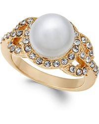 Charter Club | Gold-tone Pavé & Imitation Pearl Ring | Lyst