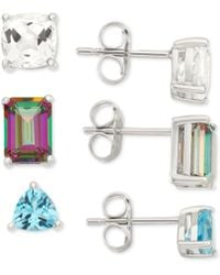 Macy's - White Topaz, Mystic Topaz And Blue Topaz Earring Trio (5-5/8 Ct. T.w.) In Sterling Silver - Lyst