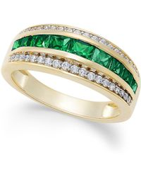 Macy's - Sapphire (1-1/10 Ct. T.w.) & Diamond (1/6 Ct. T.w.) Ring In 14k Gold (also Emerald And Ruby) - Lyst