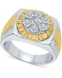 Macy's - Diamond Two-tone Cluster Ring (1/5 Ct. T.w.) In Sterling Silver & 18k Gold-plate - Lyst