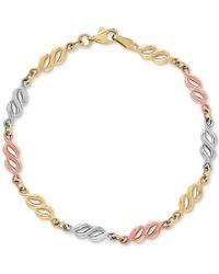 Macy's - Tricolor Fancy Link Bracelet In 14k Gold, White Gold & Rose Gold - Lyst