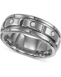 Triton - Men's Titanium Ring, Three Diamond Wedding Band (1/10 Ct. T.w.) - Lyst