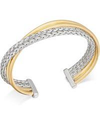 Macy's - Two-tone Overlap Cuff Bangle Bracelet - Lyst