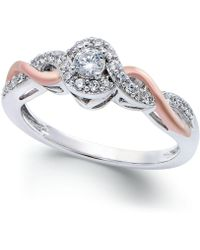 Macy's | Diamond Twist Promise Ring In Sterling Silver And 14k Rose Gold (1/5 Ct. T.w.) | Lyst