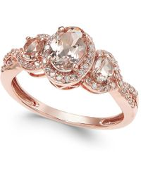 Macy's | Morganite (3/4 Ct. T.w.) And Diamond (1/4 Ct. T.w.) Ring In 14k Rose Gold | Lyst