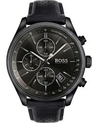 BOSS - Men's Chronograph Grand Prix Black Leather Strap Watch 44mm 1513474 - Lyst